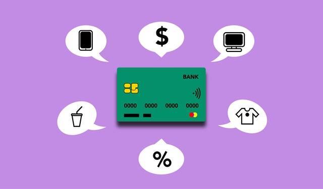 Ilustração de cartão de crédito em fundo roxo