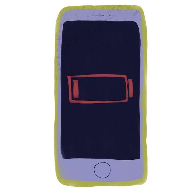 Ilustração de um iPhone com a informação de bateria com baixa carga na tela