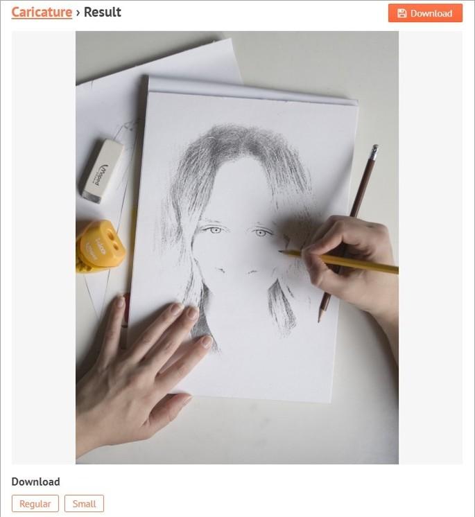 Mão desenhando caricatura no site PhotoFunia