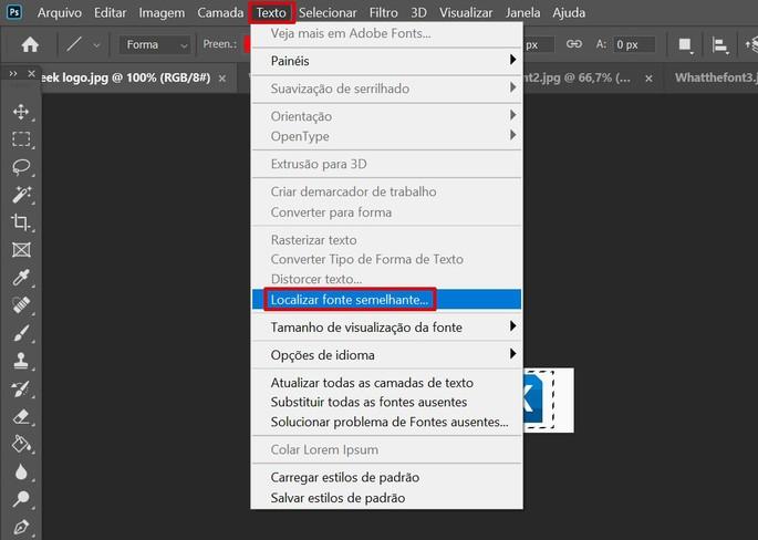 Captura de tela do Photoshop com explicação de como encontrar fonte na imagem