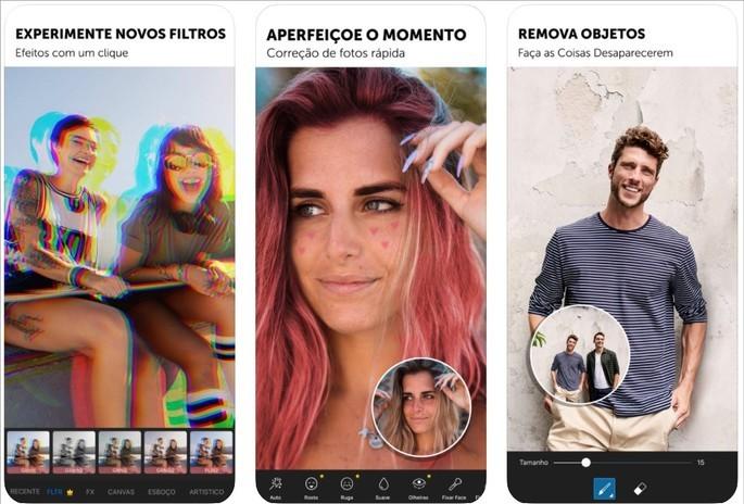 Imagens de divulgação do app PicsArt para iOS