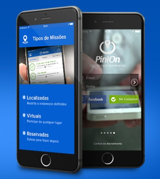 Dois celulares com screenshot do PiniOn