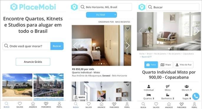 Imagem de divulgação do app de aluguel de quartos e quitinetes PlaceMobi