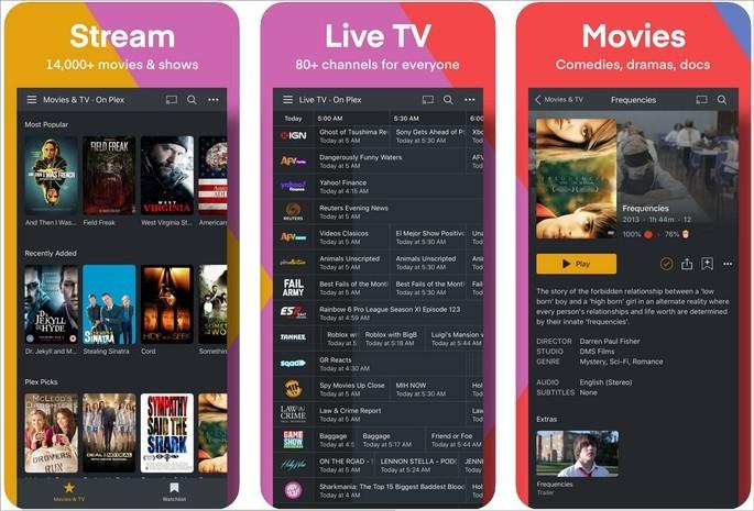 Imagens de divulgação do app de espelhamento e streaming Plex