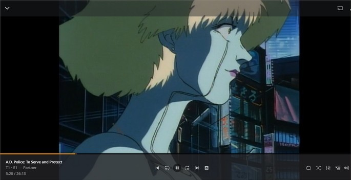 Anime rodando no player do serviço de streaming do site Plex