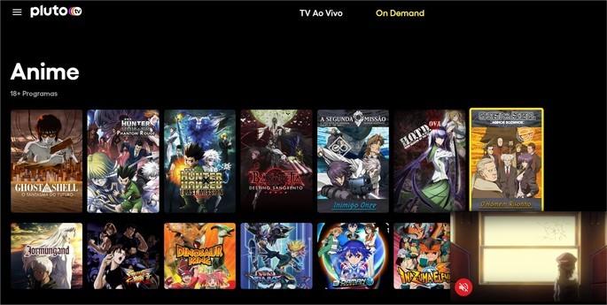 Catálogo de anime do serviço Pluto TV