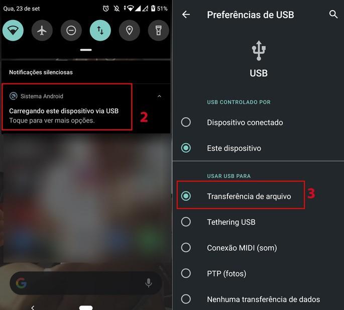 Preferencias para conectar o celular ao PC via USB
