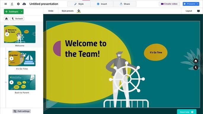 Imagem de divulgação do app online de apresentação Prezi