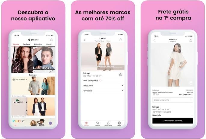 Aplicativo de compra, moda e estilo Privalia