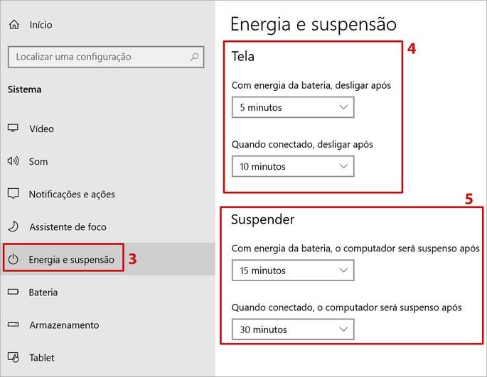 Recurso de Energia e suspensão de tela e do PC no Windows