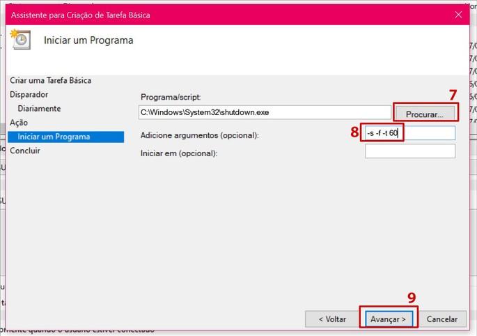 Usando o agendador de tarefas do Windows