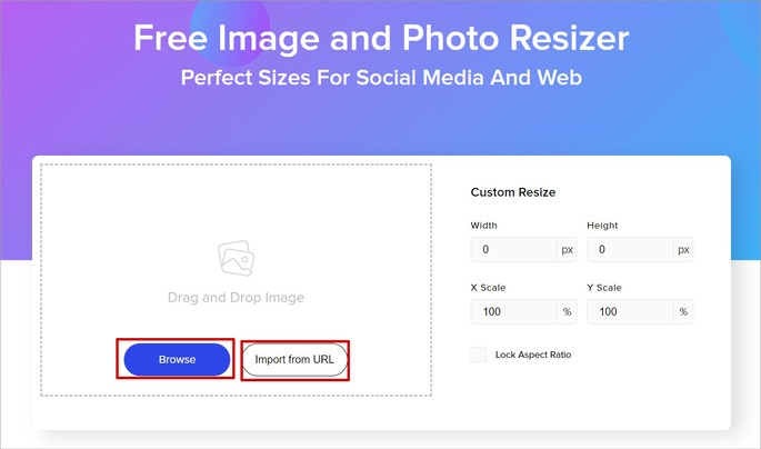 Tela inicial do site Promo Imagem Resizer
