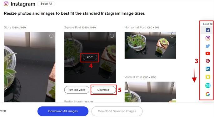 Fomatos de fotos adaptadas para o Instagram no Promo Image Resizer