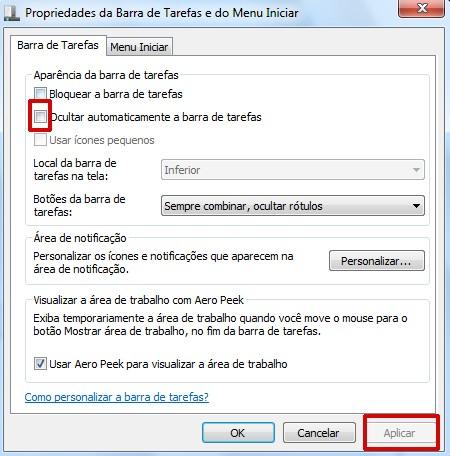 Propriedades da barra de tarefas do Windows 7