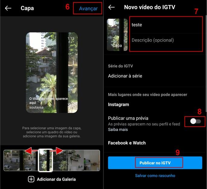 Como escolher capa e cria descrição do vídeo do IGTV no Instagram