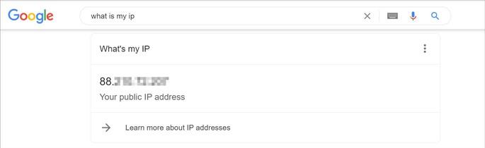 Google informa qual é o IP público ,dol Uusário