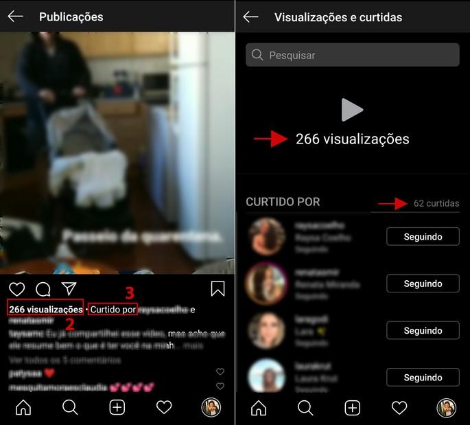 Visualizações em vídeos postados no feed no Instagram