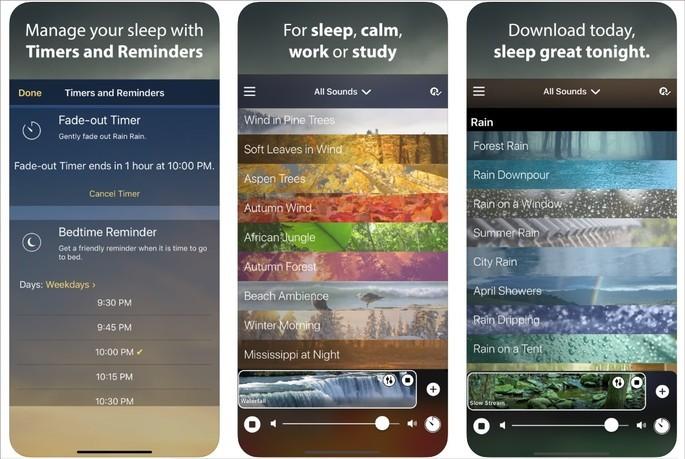 Imagem de divulgação do app Rain Rain Sleep Sounds na App Store