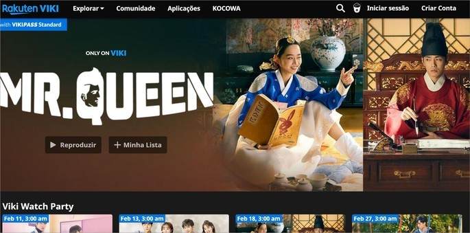 Captura de tela do site de streaming de vídeos asiáticos Rakuten Vii