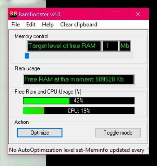Otimizando o RAM com o RAMBooster