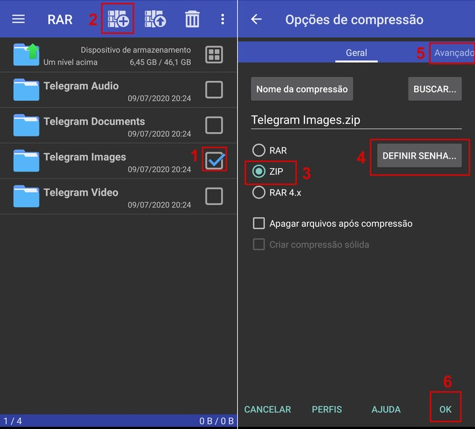 Passo a passo de como compactar um arquivo com o app RAR no Android