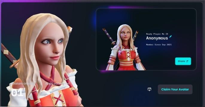 Resultado do avatar feito no site Ready Me Player