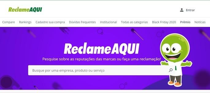 Captura de tela do site Reclame Aqui