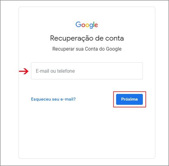 Recuperar conta do Gmail