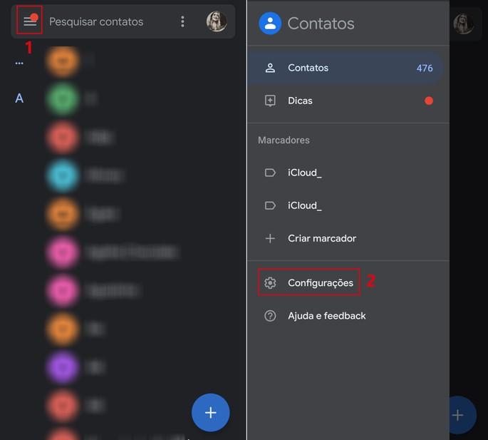 captura de tela do passo a passo de como recuperar contatos excluídos no Android