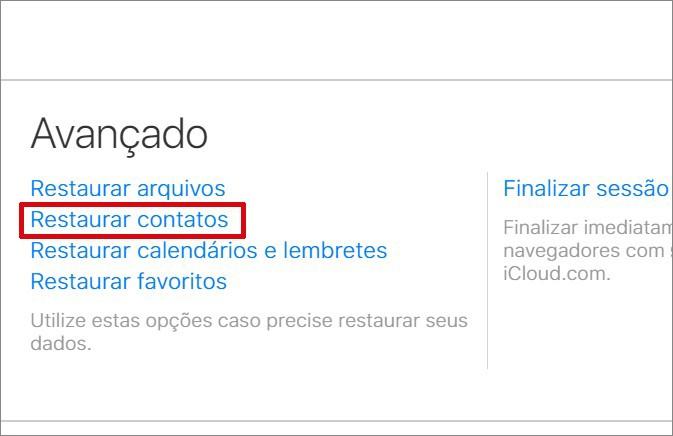 captura de tela da recuperação de contatos no iPhone