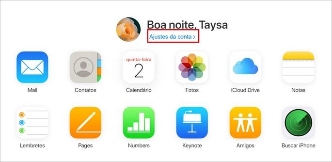 captura de tela inicial do serviço icloud.com