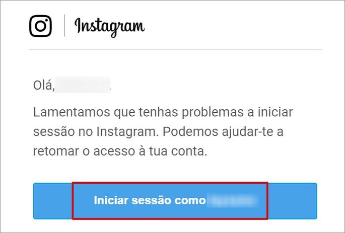 E-mail de recuperação de senha do Instagram