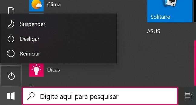 opções de desligamento do menu Iniciar do Windows 10