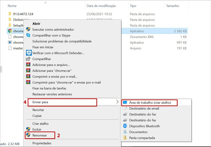 Como renomear e criar atalho do Chrome no Windows