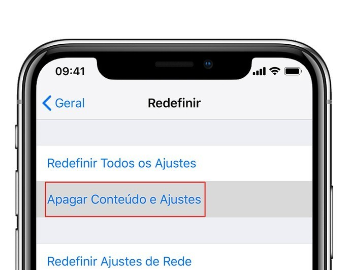 Tela de reset do iPhone