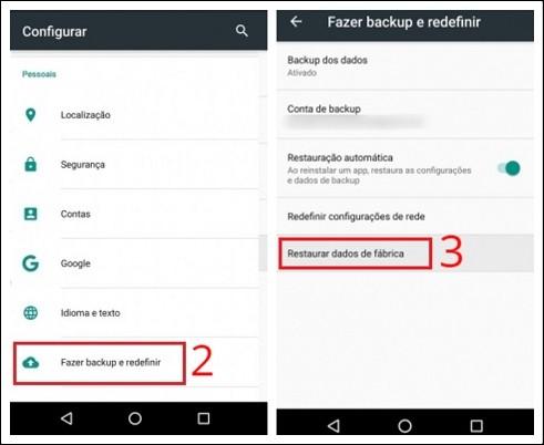 Restaurar configurações de fábrica no celular