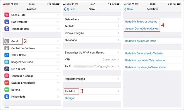 Restaurar configurações de fábrica no iPhone