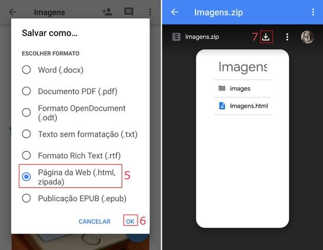 Salvar imagens do Google Docs