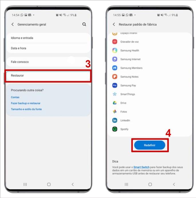 Resetar smartphone da Samsung