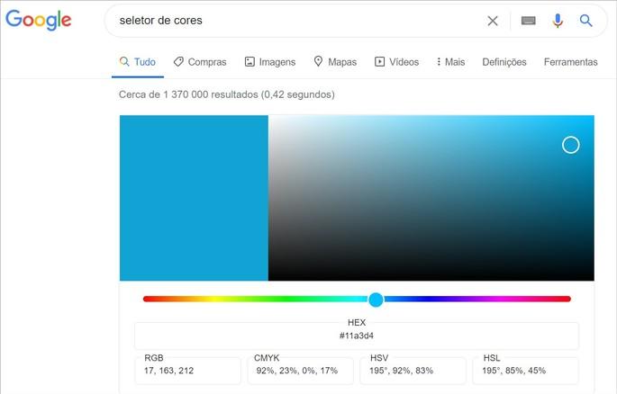 Ferramenta de seleção de cores do Google