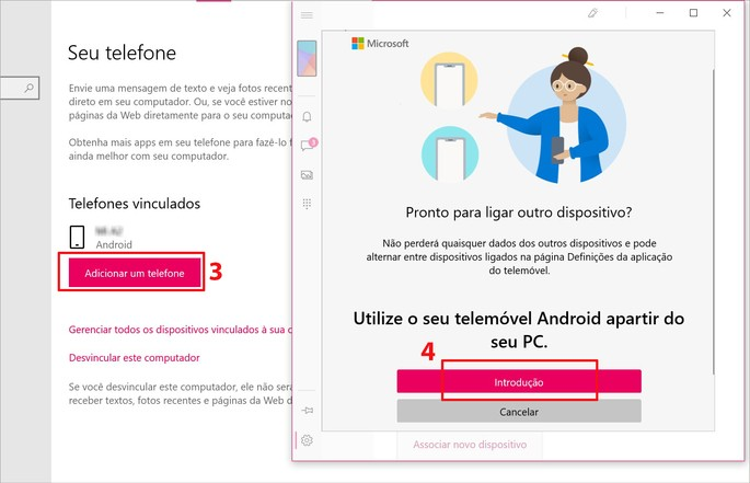 Como vincular um celular Android ao PC com o app Seu Telefone