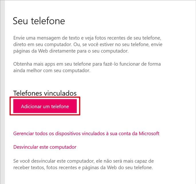 Configurações do app Seu Telefone no Windows 10