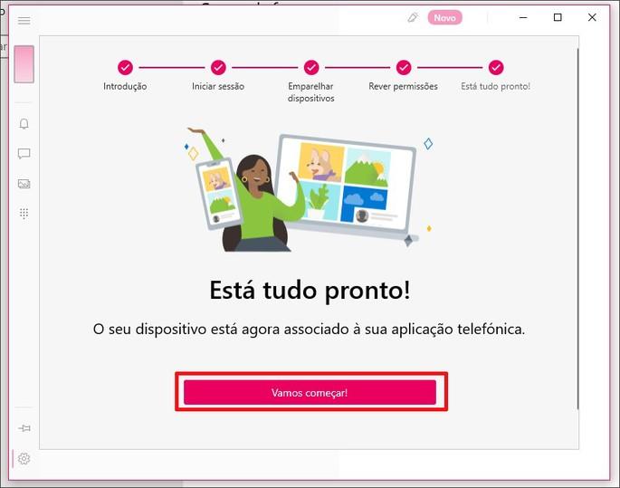 Tela de Vamos Começar do programa Seu telefone do Windows 10