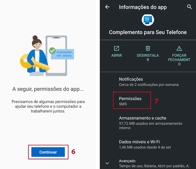 Autorizações ao app Complemento Seu Telefone no smartphone Android
