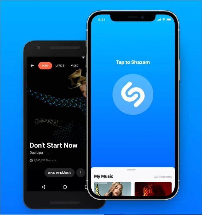 Celulares Android e iOS com o app Shazam aberto