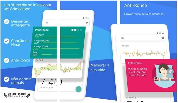 Imagens de divulgação do app Sleep as Android na Play Store