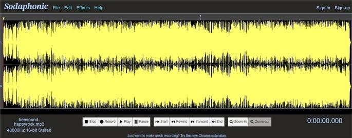 Captura de tela do editor online Sodaphonic
