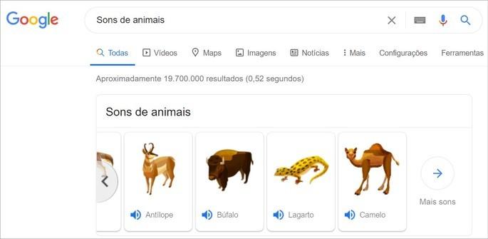 Ferramenta que ensina o som dos animais na pesquisa do Google