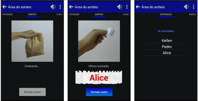 Sorteio no Saco é um app de sorteio de números e nomes