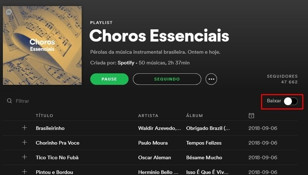 Baixar uma playlist do Spotify no PC